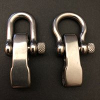 Wholesale Stainless Bracelet Shackle - Outdoor Adjustable 304 Stainless Steel Shackles 5mm 4 Holes Paracord Bracelet Buckles U-shaped Bow Shape with Screw Pin
