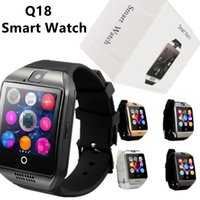 mobiltelefon bluetooth anrufbeantwortung großhandel-Q18 Smart Watch Bluetooth Smart-Uhren für Android-Handys unterstützen den Anrufbeantworter der SIM-Karten-Kamera und richten verschiedene Sprachen mit Box ein