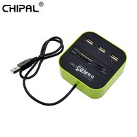 Wholesale ms stockings - CHIPAL 10PCS 3Port USB HUB Splier Combo USB2.0 Card Reader for Laptop Support Micro SD TF M2 MS MMC Multi Function Splier