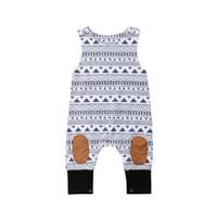 bebek yenidoğan tek parça toptan satış-2018 Yenidoğan Bebek Erkek Kız Kolsuz Romper Tulum Kıyafetler Giysi Tek parça Boyutu 0-24 M