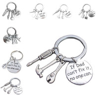 Wholesale hammer keychain - If Dad Can't Fix It No One Can Keychain Key Ring Hand Tools Hammer Screwdriver Wrench pendants Fashion Jewelry Father Day gift drop Shipping