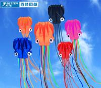ingrosso gli aquiloni di stunt liberano il trasporto-Colore Coda Parafoil Nylon Flying Pipas 3D Octopus Aquilone giocattolo singola linea Stunt Software Spedizione gratuita