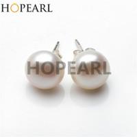 417662142b9b Tamaño grande Perla 12-13mm Botón de Agua Dulce Perla Blanca 925 Plata  Esterlina Sencillos Pendientes Mujeres Belleza Joyería de Perlas