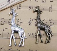 ingrosso grandi giraffe-Lotto all'ingrosso 30pcs / bag risultati dei monili Retro carino grande giraffa animali lega pendente di fascini monili che fanno accessori fai da te 53x22mm