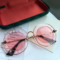 Wholesale lens plastic frame for sale - Luxury brand Designer Sunglasses For Women Fashion Round Summer Style White Pink Frame Top Quality UV Protection Lens Come With Case
