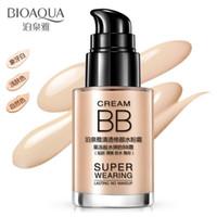 base de maquillaje para blanquear al por mayor-BIOAQUA Base Líquida Impermeable Cosmética Corrector BB Cream 30ML Base de Maquillaje Base Blanqueadora Base de Crema Líquida 50pcs