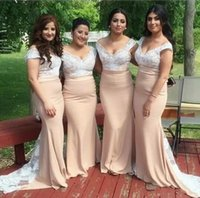 Wholesale Ivory Dress Lace Bottom - Light Champagne Off The Shoulder Mermaid Long Bridesmaid Dresses 2018 White Lace Top Maid Of Honor Gowns Custom Made With Lace Bottom