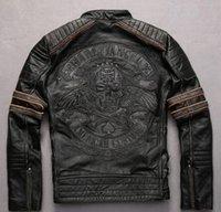 ingrosso uomini di giacca moto nero-100% da uomo in vera pelle giacche testa di cranio Ricamo giacche da moto nero giacca da strada americana moda doganale