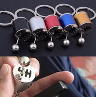 Wholesale car gear stick knobs - Gear Knob Shift Stick Box Metal Keychain Keyfob Keyring Fidget Spinner Gearbox Mini Zinc Alloy Car Truck OOA4850