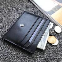 monedero de tarjeta de visita de marca al por mayor-Titular de la tarjeta de marca informal MB Ultra-delgado Business Mini monedero Hombres ID de cuero Real Tarjeta de crédito Tarjeta de autobús delgada Cartera con caja