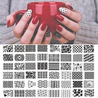 neue nagellack-designs großhandel-LANGOA 12,5x6,5 cm Neue 50 Designs Weiße Blume / Tier DIY Polnischen Stamping Nail Stempel Vorlagen Nagelkunstplatten Nägel Werkzeuge