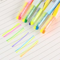 Wholesale Office Supply Stationary Set - Wholesale-5 pcs Lot Dual color highlighter Fluorescent pen marker for reading book Stationary Office accessories School supplies