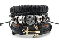 bracelets charmes achat en gros de-Prix usine Véritable Bracelets En Cuir À La Main Élégant Crâne Croix ombination En Cuir Wrap Charme Bracelet Réglable Pour Hommes