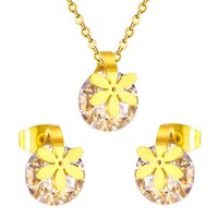 ensembles de bijoux de mariée zircone achat en gros de-Accessoires de bijoux de filles de fleurs accessoires, ensembles de collier boucles d'oreilles nuptiale zircon clair, acier inoxydable avec de l'or