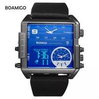 relojes de lujo analógico grande al por mayor-BOAMIGO Dual Display Relojes Hombres LED Gran Analógico Impermeable Deportes Digital Cuarzo Reloj Negro Moda Casual Relojes Masculinos de Cuero