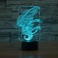 desenhos animados do hipocampo venda por atacado-7 Cor Mudando hipocampo Noite Luz Amamentação 3D Dos Desenhos Animados Levou Interruptor de Toque Da Lâmpada USB Novidade Atacado Dropshipping Frete Grátis