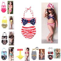 Wholesale 2t one piece bathing suits resale online - Ins T Girl s Swimwear One Piece Swimsuit Two pieces Bikini Swimwear Set Halter Bowknot tube Top briefs Bathing Beach Suits NEW HOT