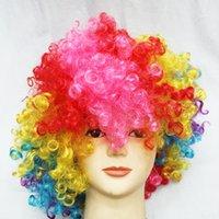perruques d'halloween achat en gros de-Halloween party habillé couleur perruque clown perruque fans perruque cheveux bulle explosion