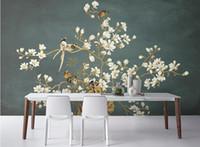 duvar kağıdı tuğla desen toptan satış-Duvar kağıdı siyah Çin el-boyalı desen çiçekler ve kuşlar duvar dekoratif paintingwallpaper tuğla duvar 3d