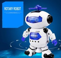 Wholesale robot electronics - new hot sale Dancing Robot Rotating Space Musical Walk Lighten Electronic Toy Christmas Birthday Best Gifs For Kids Toys