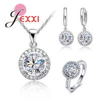 conjunto de jóias elegantes do casamento venda por atacado-JEXXI Top Quality Exquisite prata esterlina 925 colar de mulheres casamento brinco anel de zircão cristal fantasia Conjunto de Jóias