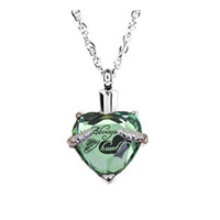 Wholesale funeral box resale online - custom gem heart heart August birthstone funeral cremation ashes box necklace pendant fashion jewelry