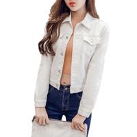 jaqueta jeans verão venda por atacado-Mulheres Moda Jeans Jaqueta 2018 Primavera de Verão de Manga Longa Trecho Curto Denim Jaqueta Casaco Branco Preto Rosa Casaco Mulheres Outerwear S18101104