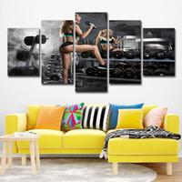 открыть сексуальные картинки оптовых-Холст картины Home Decor HD печатный плакат 5 шт. гантели фитнес стены искусства обои Бодибилдинг горячие сексуальные открытые фото