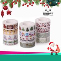 ingrosso adesivo di natale-Nastro adesivo natalizio Nastro adesivo avvolgente Nastro adesivo Adesivo regalo Confezione da cartone animato Pasta decorativa Babbo Natale Giappone e carta DHL libero