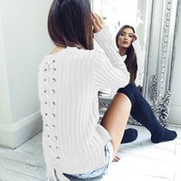 Wholesale office works computers - Women knitted Sweaters 2018 Warm Winter Pullovers Winter Lace Up Long Sleeves Elegant Office Lady Work Jumper LJ5644Y