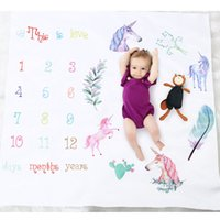 tela de fondo para la fotografía al por mayor-25 Color Unicornio recién nacido fotografía del bebé apoyos de fondo foto del bebé telones de fondo mantas infantiles carta de envolver números de flores de impresión de tela