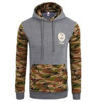 Wholesale blue contracting - Men Spring Baseball Hoodies Camouflage Camo Sweatshirts Hooded Long Sleeved Colors Contract Pullovers Tops Clothing