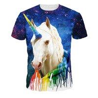 at üstü baskı toptan satış-Erkekler ve Kadınlar Için Youthcare 3D Baskılı T-Shirt Poplular Erkek Unicorn At Baskı Tasarımcı T Shirt Kadın Giysileri Tops