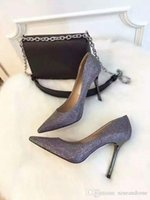 grey silver high heels NZ - grey and silver decoration fashion Europe Luxury Brand Single shoes Genuine Inner sheepskin Pumps High Heel For Women Sexy Shoes top quality