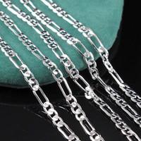 серебряный фигаро оптовых-2 мм стерлингового серебра 925 Италия мужская Фигаро цепи ожерелье мода Фигаро мужские ожерелья 16-30 дюймов ювелирные изделия Бесплатная доставка
