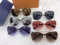 gafas sin montura de diseñador para hombre al por mayor-2019 lujo remache gafas de sol de los hombres unisex buffalo horn gafas gafas para mujer diseñador de la marca sin montura gafas de sol marco de metal de oro plata gafas