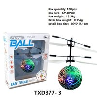 Wholesale lighted helicopters - 10 models RC Drone Flying copter Ball Aircraft Helicopter Led Flashing Light Up Toys Induction Electric Toy sensor Kids Children Christmas