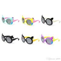 kids boy eyeglasses UK - UV400 Soft Resin Frame Kids Eyeglasses Boys And Girls Fashion Round Lens Sun Glasses Cute Cartoon Children Polarizing Sunglasses New 11sb Z