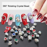perlas giratorias al por mayor-Glitter 3D Nail Art Ornamento 360 Rotating Crystal Bead DIY Nails Sugerencia Decoración Accesorios SSwell