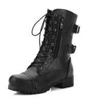 ingrosso donne tacco gotico-Martin Boots Block Heels Mid Calf Boots Punk Buckle Donna Scarpe Black Coffee Lace Up Fashion Ladies Gothic Plus Size 43