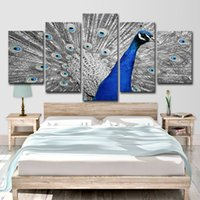 ingrosso dipinti d'arte pavoni-Canvas HD Prints Poster per soggiorno Wall Art 5 pezzi Blue Peacock Paintings Gray Tail Screen Pictures Home Decor