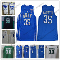 Wholesale Collar S M - NCAA Duke Blue Devils #35 Marvin Bagley III 1 Kyrie Irving royal white round collar Green Black Stitched 11 College Basketball Jerseys S-3XL