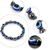 mavi reçine boncukları toptan satış-Manyetik Siyah safra taşı Elastik bilezik Moda Reçine Mavi Nazar taş Kadınlar için Bilezikler Boncuk Zincir Takı Hediyeler bırak gemi 320140