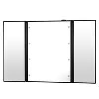 косметическое складное зеркало оптовых-Foldable 8 LED Luminous  Mirror Triple-sided Desk Stand Cosmetic Mirror Portable Home Travel Beauty Make Up Tools