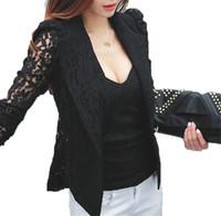 costume en dentelle blanche plus taille achat en gros de-Windreama Plus Size Manteau Sexy Dentelle Blazer Feminino Lady Costume Outwear Femmes Blazers et Vestes Formelle Slim Veste Noir Blanc