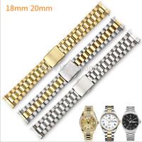 сплошные часы оптовых-Кривошипный ремешок для часов из нержавеющей стали Серебряный / золотой браслет 18 мм 20 мм Центральный соединительный браслет для часов Enicar
