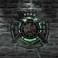 12v feu achat en gros de-1 Pièce Pompier Signe De Sauvetage Décoratif Lumière Murale Disque Vinyle Horloge Murale Pompiers À Incendie Camion Tuyau Échelle LED Lumière