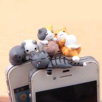 Wholesale cartoon dust plug - Jiajia Cat Series 4 cats 3.5mm general cartoon mobile phone dust trap wholesale