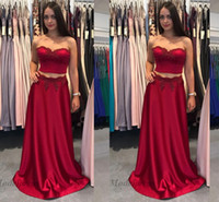 Wholesale beautiful prom dresses pictures resale online - Red Sexy Two Pieces Prom Dresses Sweetheart A Line Lace Appliques Floor Length Satin Beautiful Girls Party Dress Formal Evening Wear