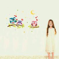 baykuş oda dekoru toptan satış-Toptan ücretsiz kargo Duvar Kağıdı Çıkarılabilir Su Geçirmez Karikatür Hayvan Baykuş Duvar Sticker Çocuklar Için Oturma Odaları Ev Dekor duvar çıkartması